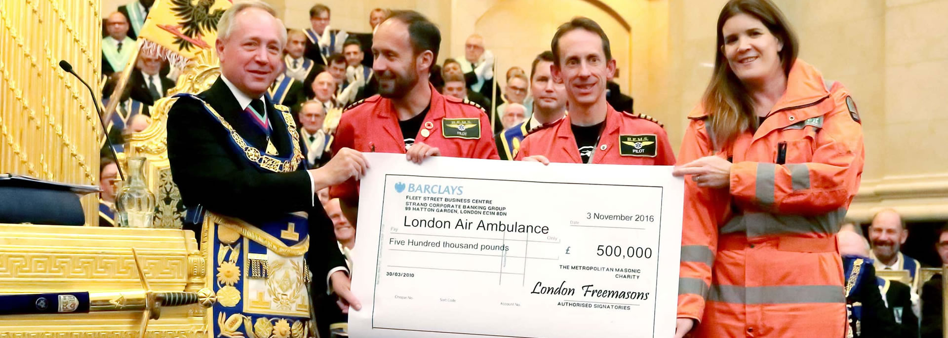 Freemasons Donation to London Air Ambulance