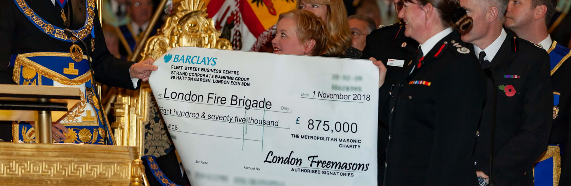 Freemasons Donation to London Fire Brigade